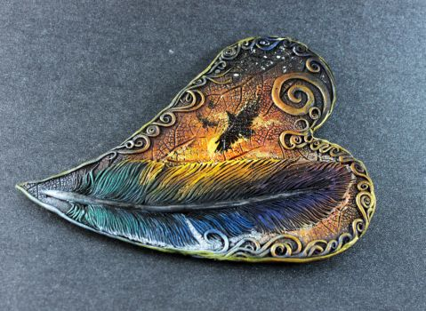 Raven feather heart by hontor