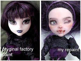 Monster High Elisabat before and after by kamarza