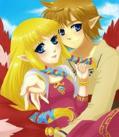 Link and Zelda by Selene-Galadriel
