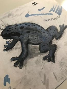 Blue poison dart frog by Thebubblebot
