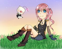 Serah and Mog by WaffleTheNomnom-chii