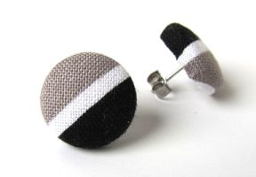 Post earrings studs black white gray grey stripes by KooKooCraft