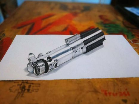 Luke Lightsaber Anamorphicdrawing by jim00