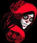 Red Riding Sugar Skull by moOnxinha