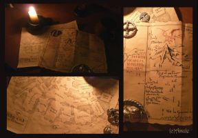 map of Thror, map of Bag End, candle, cup, silver by Aisule