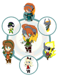 Assorted Chibis - AU Hexafusion 9 by Dragon-FangX