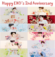 [140408][Pack Sign] HAPPY EXO'S 2ND ANNIVERSARY by IAM-MUPMIP