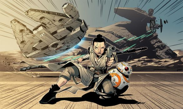 Star Wars Rey Coloured by TheMightyBurbs