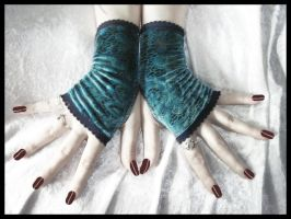 Teal Velvet Fingerless Gloves by ZenAndCoffee