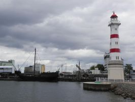 Port and lighthouse by Argussov