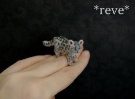 Handmade Miniature Snow Leopard Cub Sculpture by ReveMiniatures