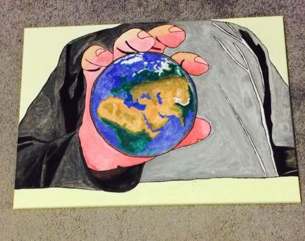 My Hand holding Earth final part by Aboodi22