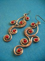 Red Vine Earrings by pikabee