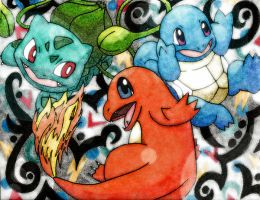 Charmander and friends v2 by Macuarrorro