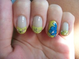 Summer hibiscus nails by QueenAliceOfAwesome
