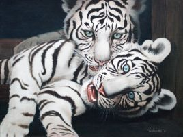 White Tiger 'original acrylic on canvas paint by vicvill