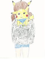 Pikachu in my backpack by bieber90pink