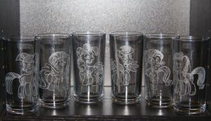 My Little Pony - Crystal Empire: Mane 6 Glass Set by rtry
