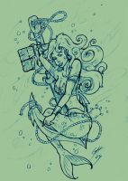 Mermaid Tattoo Sketch 3 by TheMacRat
