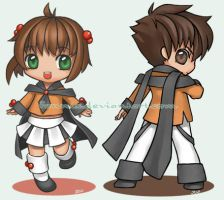 Chibi 01 - Sakura and Syaoran by Fennix