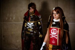 Captain Harlock and Esmeraldas by kn8e