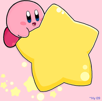 Kirby on Warpstar -Wallpaper- by water-kirby