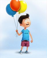 Kid With Balloons by valpos