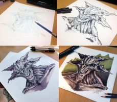 Monster step by step by AtomiccircuS