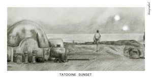 Tatooine sunset by thingrodiel