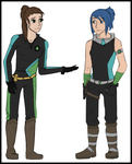 Sky and Jin Newoutfits by DelpheneLightfoot