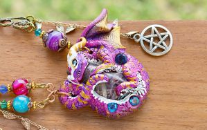 Magic Amethyst Dragon Necklace by Hidden-Treasury