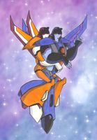 Seeker Snuggles: Sunstorm and Thundercracker by yodana