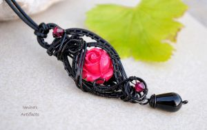 Black wire wrapped pendant with red rose by IanirasArtifacts