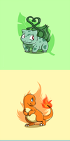 Pokemon Starter Buttons by Clawshawt
