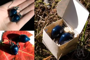 dark blue acorm earings by amberhlynn