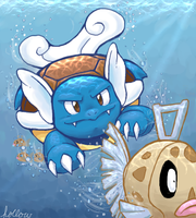 Wartortle vs Feebas by hollowzero
