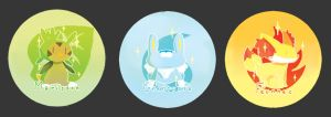 Kalos Starters Buttons by Tthal