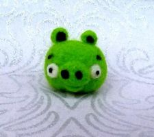 Angry Birds Needle Felted Piggy by Charlottejks