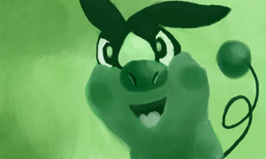 Green fire pig by Quacksquared