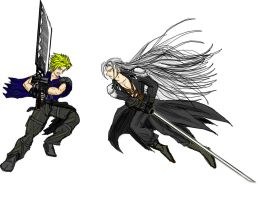 Cloud and Sephiroth by dskemmanuel