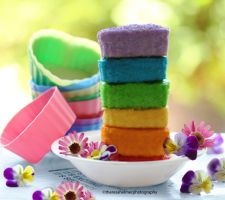 Mini Rainbow Heart-Shaped Cakes by theresahelmer