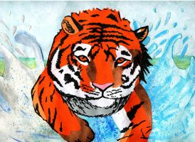 Tiger in the water by Purpledragongirl