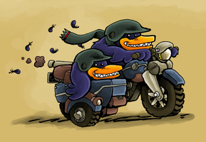 Crows on a Bike by gsilverfish
