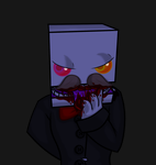 Vampire Reginald licks blood from his hand by Soldjermon