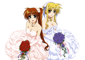 Fate and Nanoha in wedding dresses by Derpy-Answers