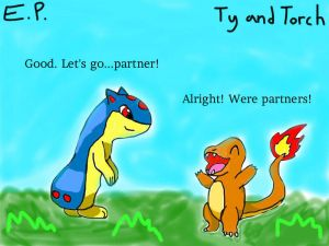 Ty the Quilava meeting Torch the Charmander by EpicPokemon13