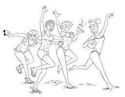 4 Filles A La Plage LINEART (4 girls at the beach) by Aleayo