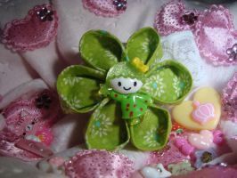 Green Little Girl Kanzashi Baby Band 1 by TolekaChan