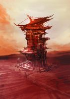 wasteland tower illustration by torvenius