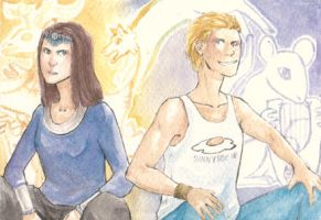 PJO: Artemis and Apollo by Miagola